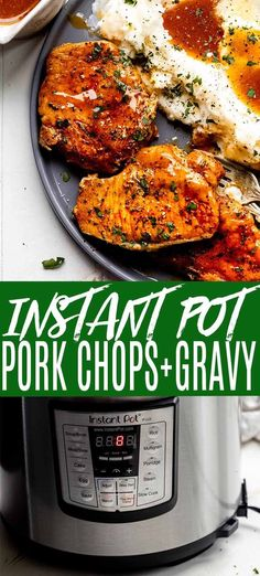 Instant Pot Pork Chops cook up deliciously tender and juicy in your electric pressure cooker, and they're finished off with an irresistible gravy. // boneless // bone in // recipes // frozen // with gravy // easy Pork Chops Instant Pot Recipe, Best Instant Pot Recipe, Instant Pot Dinner Recipes, Pork Chops Bone In, Pork Chops And Gravy, Tender Pork Chops, Pressure Cooker Pork Chops, Instant Pot Pressure Cooker, Easy Pressure Cooker Recipes