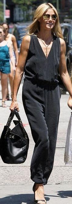 Heidi Klum, black jumpsuit