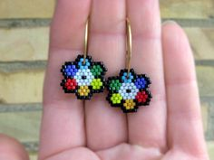 Earrings - Circus Flowers - Bright Colors - Yellow, Orange, Red. Purple, Blue, Green, Black and White