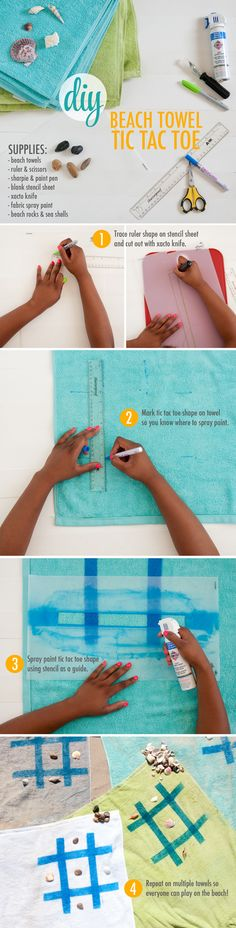 DIY How to Make A Beach Game for Kids out of Beach Towels ~ All you need are Towels, Fabric Spray Paint, and Stencils. Kids can take a Beach Towel with them to the beach that is also a game! #Summer