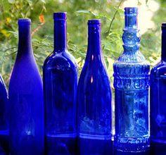 Love blue glass in a window
