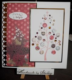 'Magic Of Christmas' backing paper and greeting by Craftwork Cards. 'Festive Tree' stamp by Woodware, decorated using Card Candi by Craftwork Cards, gems by Meiflower and peel-off dots by Craft Creations.