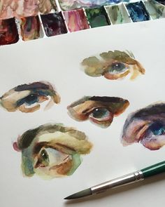 """12.6k lượt thích, 45 bình luận - Chris Hong (@chrishongart) trên Instagram: """"Painting some eyes this Friday afternoon  #gouache #traditionalpainting #eyes #fromreference…"""""""