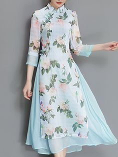 Vintage Women Fake Two Pieces Sleeve Printed Dresses fashion style outfit ideas outfit inspo shop outfits online shop new outfits purchase outfits shopping clothes summer summer tops for women buy Kurta Designs Women, Blouse Designs, Lady Like, Dress Stand, Kurti Designs Party Wear, Maxi Robes, Designs For Dresses, Indian Designer Outfits, New Designer Dresses