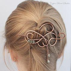 Hair Jewelry, Icy Mint Green Beaded Hair Pin, Hair Clip Women, Hair Stick, Metal Hair Slide, Hair Barrette, Copper Hair Accessories Women