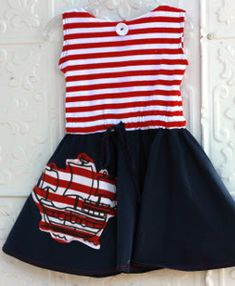 This Ahoy Mateys Circle Skirt Dress is an adorable example of nautical themed dresses, one of the hottest clothing trends right now. Follow this tutorial to learn how to sew a dress that will make your little girl the cutest sailor on the seven seas.