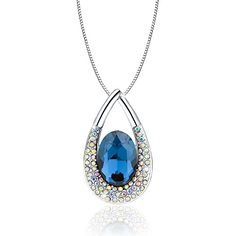 """Osiana """"Tear of Angel"""" drop-tear pendant necklace with Crystals from Swarovski18""""Montana. SPECIFICATION: Elegant CRYSTALS from SWAROVSKI + High Quality Alloy; Chain:15.75inch+4inch(Extend Chain);We committed to provide you the highest standard materials and craftsmanship. Comfortable: The pendant is completely nickel-free, so as to reduce the possibility of rash or skin irritation. Women can wear these all day long without worrying!. At Osiana ,We use only finest quality and authentic…"""