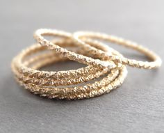 Gold Ring Faceted Sparkly super thin Stackable Rings by bluebirdss, $11.00