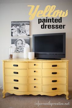 Yellow Painted Dresser Love the styling of the black and white canvas photos with the yellow dresser. Upcycled Furniture, Furniture Projects, Furniture Making, Furniture Makeover, Vintage Furniture, Home Projects, Painted Furniture, Diy Furniture, Plywood Furniture