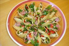 Italian Chopped Salad in Pasta Shells - I make this to take to parties, and people love the option of having something lighter to eat. Pasta Recipes, Appetizer Recipes, Salad Recipes, Cooking Recipes, Healthy Recipes, Lettuce Recipes, Italian Appetizers, Delicious Recipes, Chicken Recipes