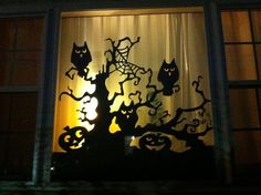 Spooky Halloween window silhouette