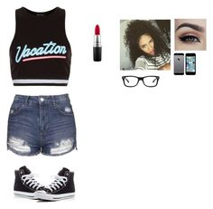 """☀️Vacation☀️"" by wildcalifornia2016 on Polyvore featuring New Look, Topshop, Converse, MAC Cosmetics and Ray-Ban"