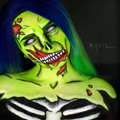 I'm use to doing zombies but I've never done a pop art zombie before You might be seeing more of these soon.. They're a lot of fun to do. Done with @sugarpill shadows for some contouring, @kryolanofficial UV paint, @nyxcosmetics gel liner for the details, and @morphebrushes Custom wig by @hairhegoes and contacts from @camoeyes.com_
