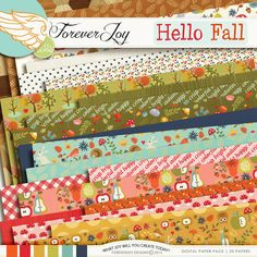 Digital Scrapbooking Kit - HELLO FALL Page Kit | ForeverJoy Designs