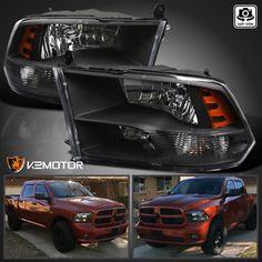 2009-2017 Dodge Ram 1500/2500/3500 Black Quad Headlights Lamps Left+Right