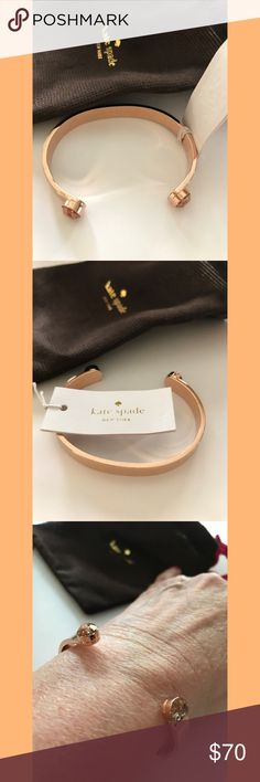 """Just In! NWT KSNY Forever Gems bangle 🎉 Brand new cuff in rose gold patina, with matching crystals. Inscribed """"Tickled Pink"""".  Open bangle slips on. MSRP $78 plus tax. kate spade Jewelry Bracelets"""