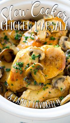 This slow cooker chicken marsala is tender chicken breasts cooked in a mushroom and marsala wine sauce. Lunch Recipes, Easy Dinner Recipes, Easy Meals, Easy Recipes, Keto Recipes, Dinner Ideas, Chicken Marsala Crockpot, Slow Cooked Chicken, Yummy Chicken Recipes