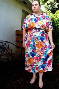 Plus Size  Vintage Bright Floral Shirt Dress w/ by TheCurvyElle, $45.00