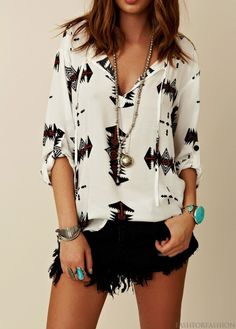 ... Trendy top and black shorts