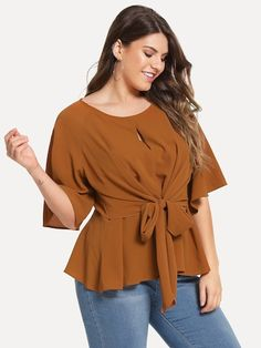 Shop Plus Open Front Knot Solid Top online. SHEIN offers Plus Open Front Knot Solid Top & more to fit your fashionable needs. Plus Size Blouses, Plus Size Tops, Plus Size Dresses, Half Sleeves, Types Of Sleeves, Fashion News, Fashion Outfits, Women's Fashion, Curvy Fashion