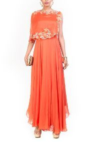 Georgette And Taffeta Party Wear Dress In Orange Colour
