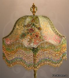 Beaded Lamp Shades Simple Amazing Sleeping Beauty Fantasy Ooak Beaded Pink And Green Victorian Decorating Inspiration