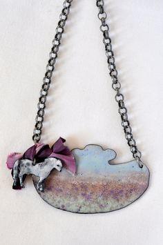 Lia Bowen - Fritz on the Moors Necklace  (copper, enamel, silver, ribbon)