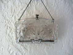 Clear lucite purse 1950s carved clutch