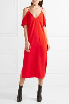 T by Alexander Wang - Cold-shoulder Chain-trimmed Stretch-crepe Midi Dress - Crimson - US