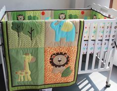 3D stereo embroidery Lions giraffes elephants Animals 6 Pieces Baby Boy Crib Cot Bedding Set Include Quilt Bumper Fitted Sheet(China (Mainland))