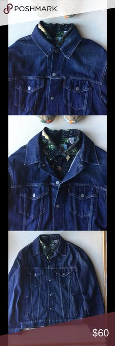 Levi's Denim Jacket Size XL Size XL I payed $145 100% Cotton Non-Stretch Heavyweight Denim Levi's® branded shank buttons Chest pockets with flaps and Levi's® tab Welt hand pockets Side hem adjusters Imported levis Jackets & Coats Bomber & Varsity