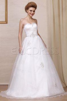 Pretty A-line Strapless Floor-Length Beaded Wedding Dress,193.99,