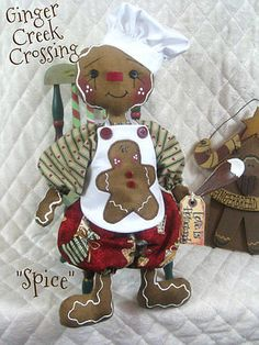 "♥ ♥ primitivo Raggedy Pan de Jengibre Muñeca ""Spice"" w/spoon ♥ ♥ Ginger Creek Cruce in Antigüedades, Primitivos | eBay"