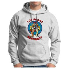 Los Pollos Hermanos Chickn Brothers Hoodie Sweatshirt Inspired Breaking Bad AMC TV show Full Color Hooded Sweatshirt Small Ash