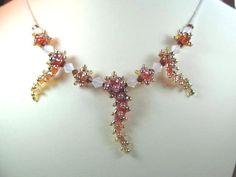 Necklace amber glass art lampwork beads Vulcans