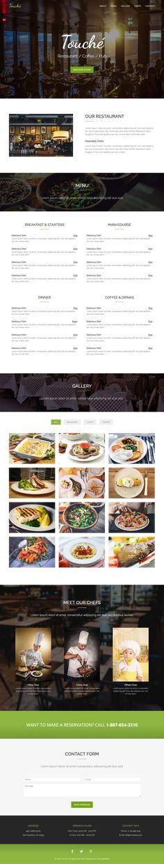 Touché is a free One Page HTML restaurant template built on the Bootstrap framework. Features include a sticky header navigation (that smooth scrolls to relevant sections), food menu, pop up image gallery (with food category filter), chef section and a contact form. A decent HTML template to start if you're on a low budget.
