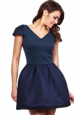 Moe MOE149 sukienka granatowa Rewelacyjna sukienka, góra dopasowana, mini rękawek