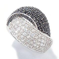 Gem Treasures Sterling Silver 4.54ctw White Zircon & Black Spinel Ring
