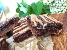 Fudgy protein brownie slices