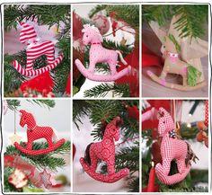 genähte Dekoration für den Weihnachtsbaum : Schaukelpferde