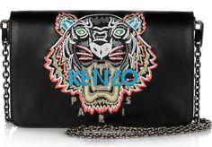 KENZO Tiger-embroidered leather shoulder bag