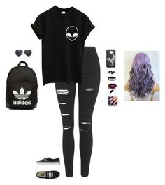 """""""That Girl With A Dark Personality"""" by hanakdudley ❤ liked on Polyvore featuring Topshop, Vans, adidas Originals, The Row, Lottie, women's clothing, women's fashion, women, female and woman"""