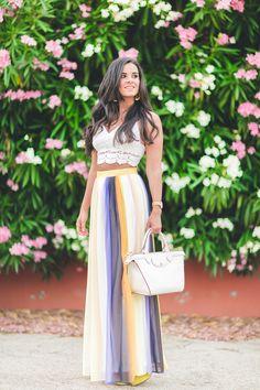 Multicolor long Skirt falda larga multicolor crochet crop top boho chic style bolso le plieage heritage longchmap handbag Crimenes de la Moda blog Maria Jesus Garnica Navarro