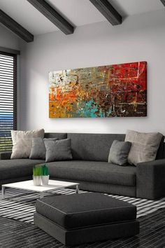 Having small living room can be one of all your problem about decoration home. To solve that, you will create the illusion of a larger space and painting your small living room with bright colors c… Small Living Rooms, Living Room Art, Living Room Designs, Art Pour Salon, Grand Art Mural, Sala Grande, World Map Wall Art, Extra Large Wall Art, Large Art