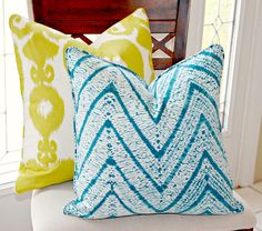 Braemore Melaya Chevron in Seaspray Decorative Ikat Batik Pillow Cover, Decorative Pillow Cover, Accent Pillow, Throw Pillow, toss pillow. $45.00, via Etsy.