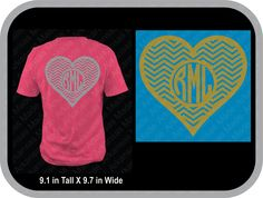heart monogram chevron custom shirt, monogram shirt, shown with round monogram…