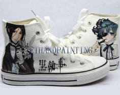 Black Butler Paint on Converse Sneakers, Hand Painting Converse Sneakers Kuroshitsuji Sebastian Michaelis and Ciel from EmilyTamHandPainting on Etsy. Converse Trainers, Converse Shoes, Gothic Shoes, Gothic Clothing, Painted Converse, Black Butler Kuroshitsuji, Hand Painted Shoes, Black Sneakers, Zapatos