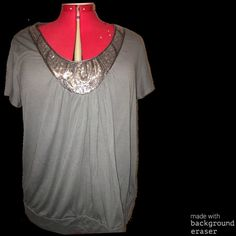 Grey top with silver sequins Very pretty cap sleeve top with sequins on front fits 2/3x Tops Blouses