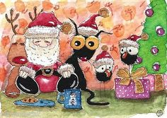 ACEO Original Watercolor Folk Black Cat Santa Christmas Tree Milk Cookies Crow | eBay