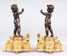 A lovely pair of rare French Bronze & Ormolu Chenets, Louis XVI Style. Est. £2,000 - £3,000.